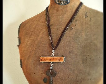 I Want to Rule the World Vintage Ruler and Antique Key Necklace