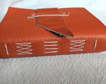 Orange Leather Journal - handbound
