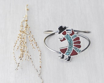 Vintage Kachina Dancer Cuff - sterling silver bracelet with inlaid turquoise red coral onyx - Southwestern Native American