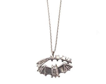 Bat and Shooting Stars Necklace           silver gold fine delicate