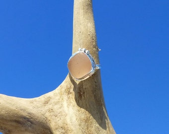 Pink Sea Glass Ring Size 4 Pinky .935 Sterling Argentium Silver