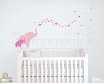 Elephants Wall Decal for Baby Girl Nursery - elephants decal - hearts decal - baby wall art decor children's room - K421
