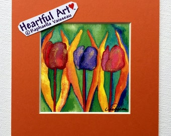RAINBOW TULIPS 5x5 8x8 Square Garden Meditation Small Print Friend Gift LGBTQ Diversity Colorful Flowers Heartful Art by Raphaella Vaisseau