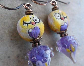 Little Flirt ... Artisan-Made Polymer Clay Owl, Lampwork and Copper Wire-Wrapped Whimsical, Boho Earrings