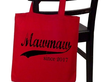 Mawmaw since ANY year, personalized canvas tote bag, screen print tote bag, Christmas gift, new grandmother gift