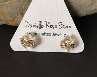 Herkimer Diamond Earrings / Stud  Earrings / Crystal Earrings /Post Earrings / Daniellerosebean / Gold Earrings / 14k Gold Fill / Gold Studs