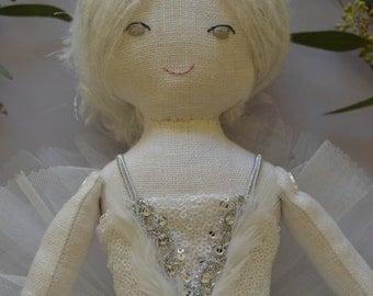 "White Swan Ballerina Princess - cloth doll - Organic 20"" Ooak"