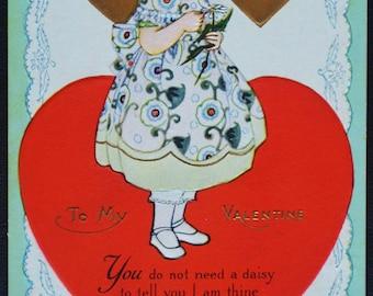 To My Valentine Girl Hearts Poem 1910s Embossed Postcard