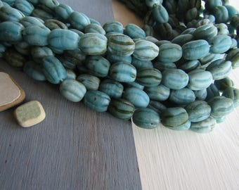 blue turquoise lampwork glass beads, opaque melon oval wavy,  rustic gritty aged look, indonesia 12-14mm dia x 16-18mm long (6 beads) 6CB6-7