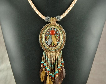 Necklace, beaded, Bead Embroidered Necklace, feathers, western, leather, mosaic