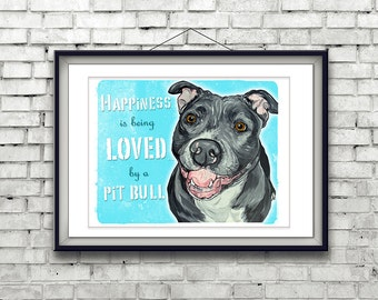 PIT BULL Art Print, Dog Print, Dog Wall Art, Gifts for Dog Lovers, Pit Bulls, Blue Pit Bull