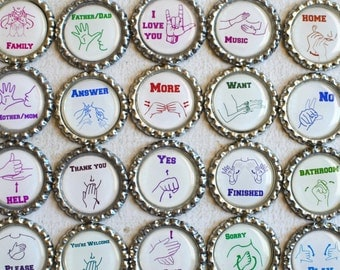 American Sign Language Words and Phrases- Occupational Therapy- Learning Magnets- Therapist Gift- Homeschool- Classroom Gift- MADE TO ORDER