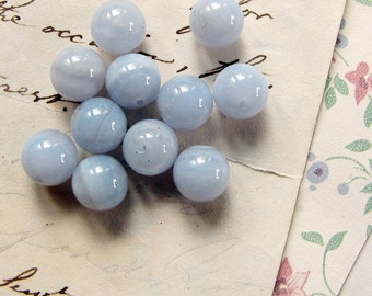 blue lace agate beads - pale blue gemstone rounds - 8mm - 11 beads - destash