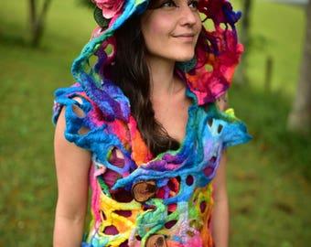 RESERVED - Felt Rainbow Pixie Costume-Woodland Flower Vest-Hooded Fairy Vest-Rainbow Fairy Costume-Pixie Wear-Rainbow Costumex OOAK