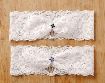 Green clover wedding garter, blue flower garter, lucky charm lace garter - style #474
