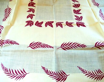 """vintage Simtex tablecloth, 1950s, yellow/burgundy, table linens, home decor, 64"""" x 52"""", excellent condition"""