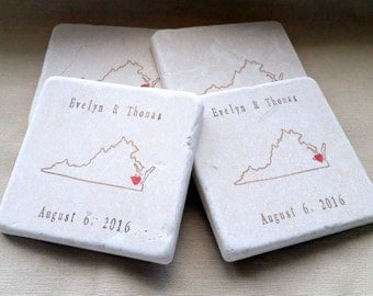 Personalized Virginia State Wedding Favor Coasters - Set of 25