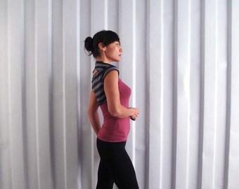 Cropped tee bolero shrug - Yoga top - dance wear - workout - athleisure. Stripe - stone - charcoal.  Size SM and ML