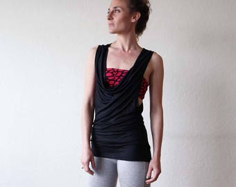 New for summer!! Scoop neck vest - Yoga clothes - dance wear - yoga top - active wear. Black - Off white - Stripe. Onesize
