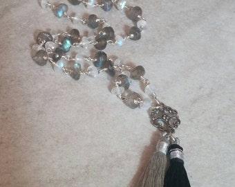 Labradorite Tassel Necklace, Moonstone Tassel Necklace, Mala Necklace, Grey & White Necklace, Winter Necklace, Wire Wrapped Stone Necklace