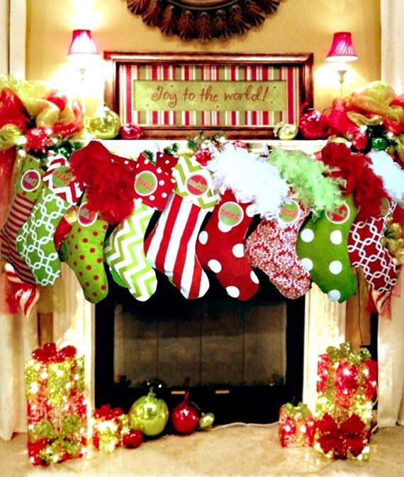 Custom for LD, 6 Christmas Stockings, custom holiday stockings, christmas decorations, polka dots, chevrons, matching family stockings