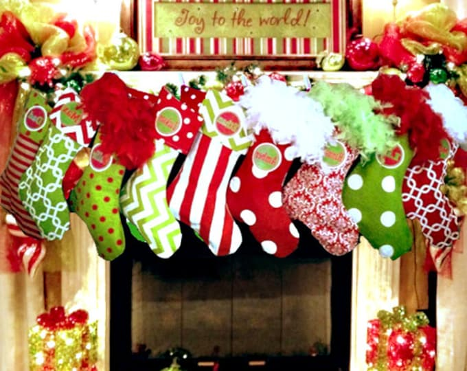 Custom for LD, 6 Christmas Stockings, custom holiday stockings, christmas decorations, polka dots, chevrons, matching family stockings