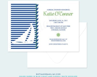 Nautical Bridal Shower Invitation, Engagement Dinner Invitation, Wedding Invitation, Retirement Party, Printed Invitations, DIY Printable