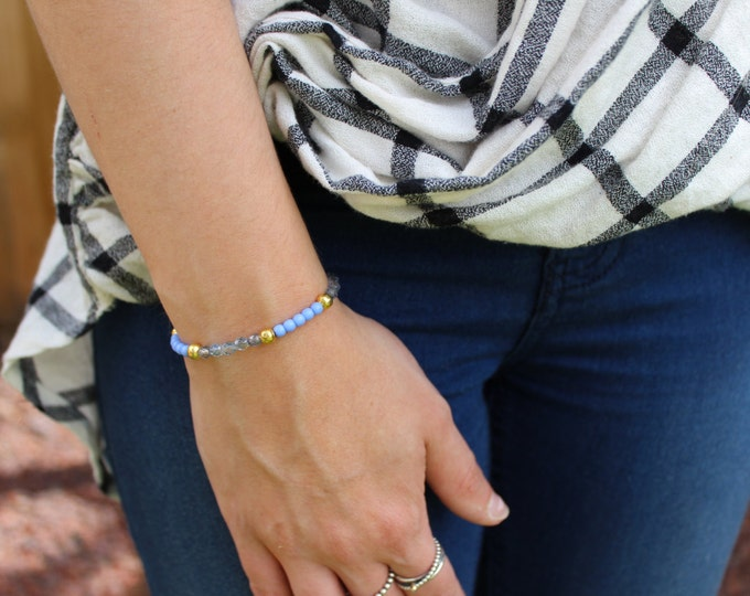 Gold and Soft Denim Blue Beaded Bracelet.