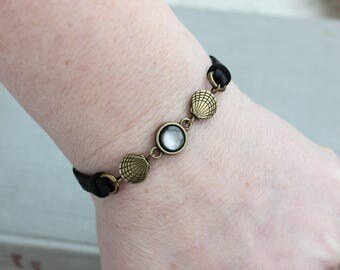 Black Pearl Leather Bracelet and/or Choker