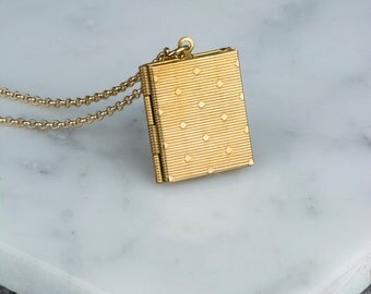 Vintage Book Pendant Necklace, Photo Necklace Locket, Long Chain Necklace, Polka Dots