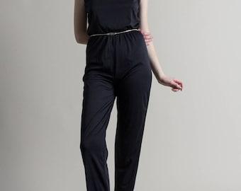 Vintage 70s Black Jumpsuit / Minimal Jumpsuit / Pant Romper