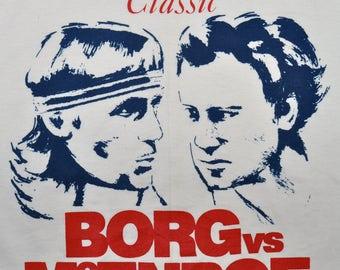 Vintage 80s 1980 Bjorn Borg John McEnroe Wimbledon Tennis Match T SHIRT M RARE