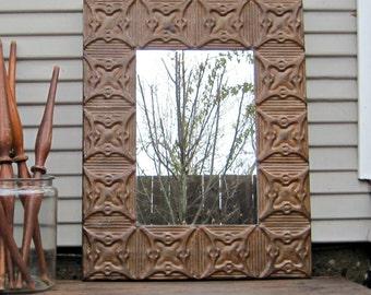 Vintage Ceiling Tin Wall Mirror, Antique Architectural salvage, 24 x 30 Rustic wall bathroom industrial mirror, Farmhouse primitive decor
