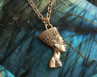 "Nefertiti Egyptian Queen necklace, 1"" pendant"
