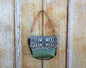 Vintage Appalachia Indigo Overshot Handbag - Green