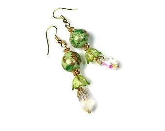 Apple Green, Light Green Dangle  Earrings, Bead Dangle Earrings, Floral, Vintage Style Jewelry, Gift For Her