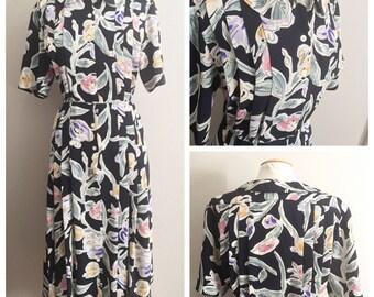 Watercolor Floral Dress // Liz Claiborne Floral Dress // Navy Blue Peter Pan Collar