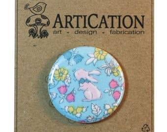 "Spring Easter Bunny Rabbit, sealed fabric button magnet, 1.5"" (1 1/2 inch, 38mm)"