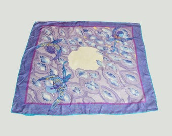 Vintage 60s 70s Japanese Silk Scarf Cloud Bird Print Square Shaped Purple Blue White
