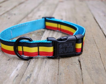 Belgie Dog Collar - Light Blue Webbing with Belgian Flag
