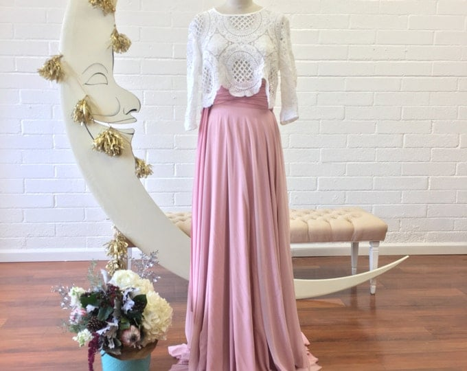 Tulle Full Circle High Waist Sash Skirt~ Coralie Beatrix- Custom Choose Fabrics for Bridal Skirt, Bridesmaids, Prom, Formal