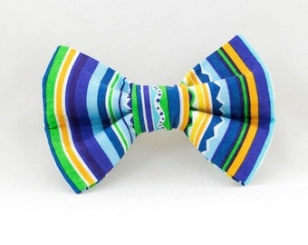 Blue Striped Dog Bowtie, Blue Bowtie for Dogs, Velcro Bowtie for Dogs, Cute Dog Bowtie