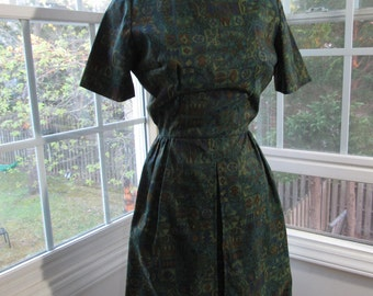 50s/60s Green Wiggle Dress, XSmall, 0, 2