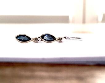 Blue Sapphire Bezel Set Minimalist Dangle Earrings 14k and Sterling Silver