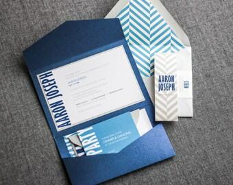 "Bar Mitzvah Invitations, Modern Party Invitations, Blue and Silver Invites, Jewish Wedding Invitation - ""Modern Mitzvah"" Pocketfold, 1 Layer"