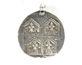 Antique Indian Amulet, Duo Goddess Devi Hoi Mata Pendant, Old India Amulet, High Grade Silver, 11.1 Grams, Ethnic Tribal