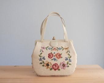 1950s embroidered bag / floral needlepoint purse ivory taupe leather frame handbag