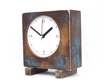 Desk Clock Brown Gold Turquoise, Wooden Table Clock, Unique Square Wood Clock, Wooden Shaded clock, Spring home decor, Mothers day gift