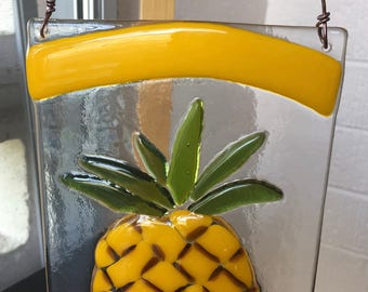 Fused Glass  Pineapple Sun Catcher