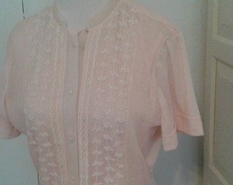 "50s Pale Pink Blouse, Semi Sheer, Tulle, Embroidered, Peplum, by Jo-Lyn, Size Medium, 38"" Bust"